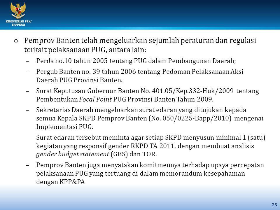 Pemprov Banten telah mengeluarkan sejumlah peraturan dan regulasi terkait pelaksanaan PUG, antara lain: