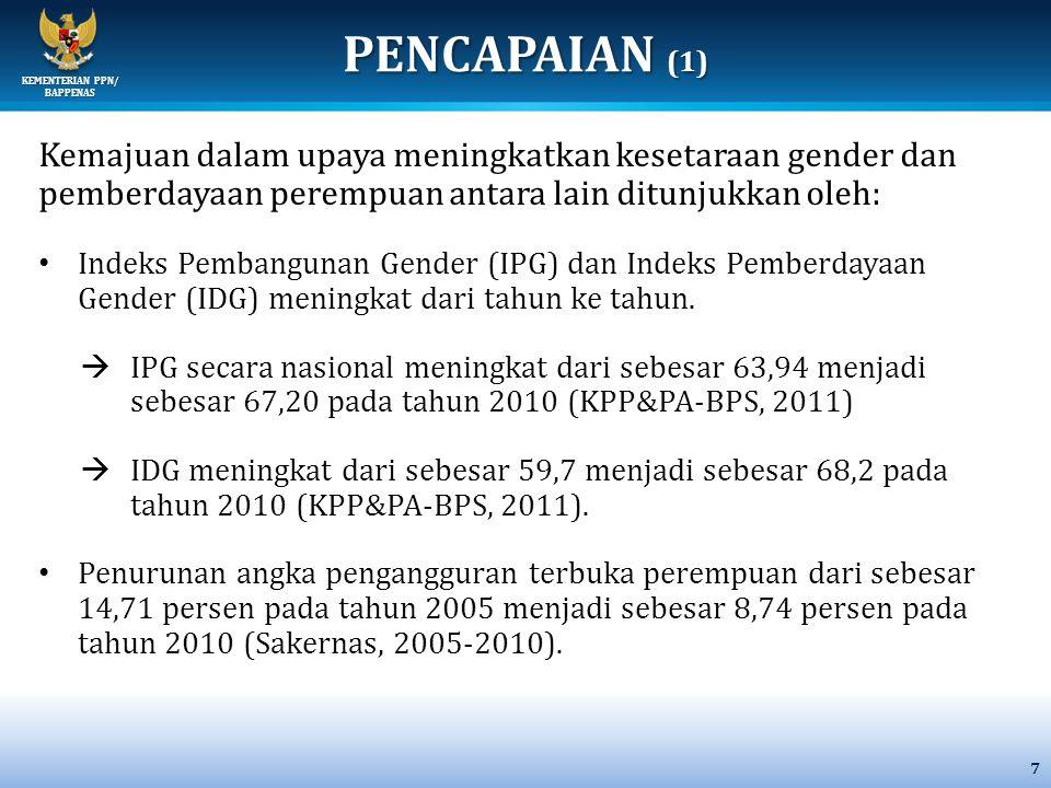 PENCAPAIAN (1) Kemajuan dalam upaya meningkatkan kesetaraan gender dan pemberdayaan perempuan antara lain ditunjukkan oleh: