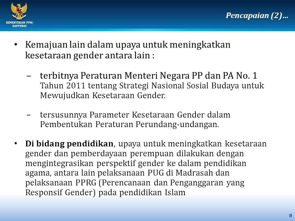 Pencapaian (2)… Kemajuan lain dalam upaya untuk meningkatkan kesetaraan gender antara lain :