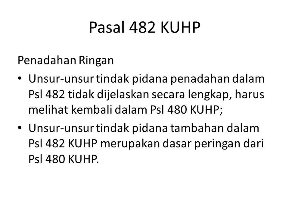Pasal 482 KUHP Penadahan Ringan