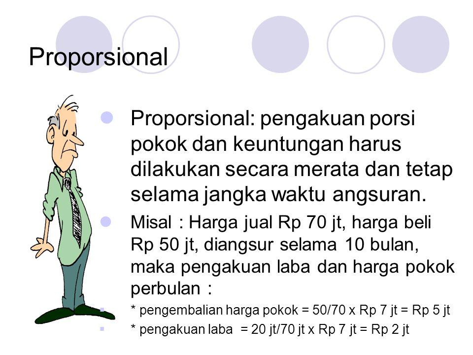 Proporsional Proporsional: pengakuan porsi pokok dan keuntungan harus dilakukan secara merata dan tetap selama jangka waktu angsuran.