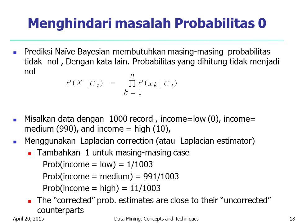 Menghindari masalah Probabilitas 0
