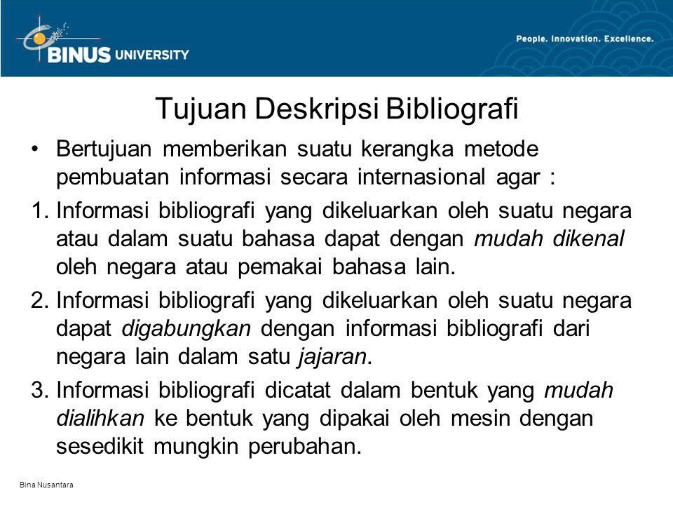 Tujuan Deskripsi Bibliografi