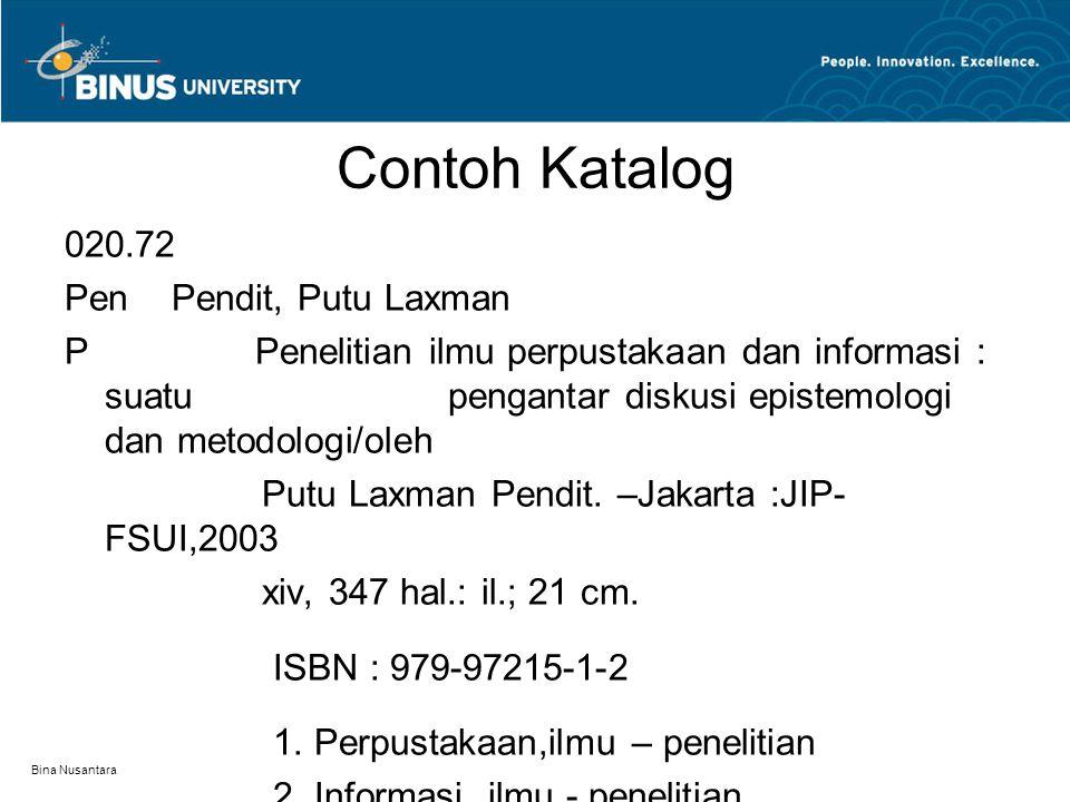 Contoh Katalog 020.72 Pen Pendit, Putu Laxman