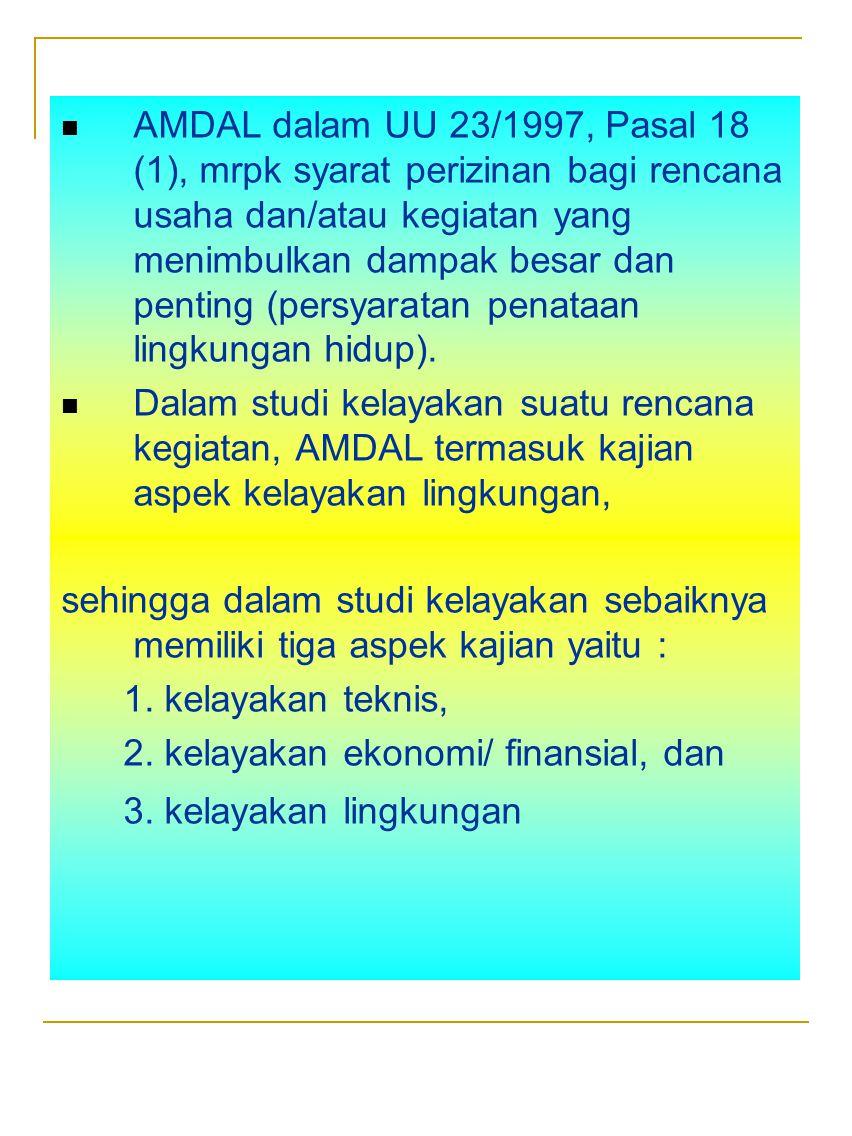 AMDAL dalam UU 23/1997, Pasal 18 (1), mrpk syarat perizinan bagi rencana usaha dan/atau kegiatan yang menimbulkan dampak besar dan penting (persyaratan penataan lingkungan hidup).