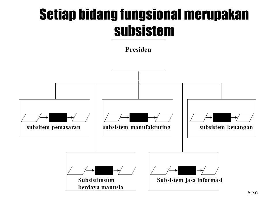 Setiap bidang fungsional merupakan subsistem
