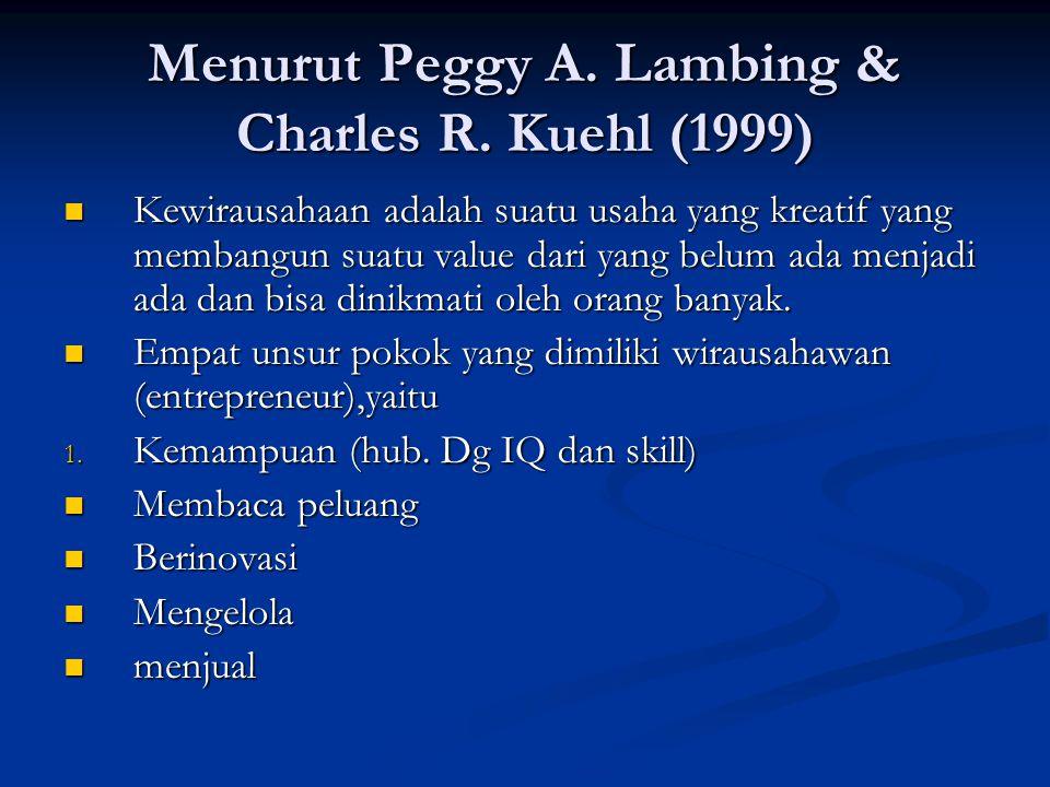 Menurut Peggy A. Lambing & Charles R. Kuehl (1999)