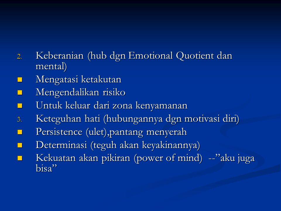 Keberanian (hub dgn Emotional Quotient dan mental)