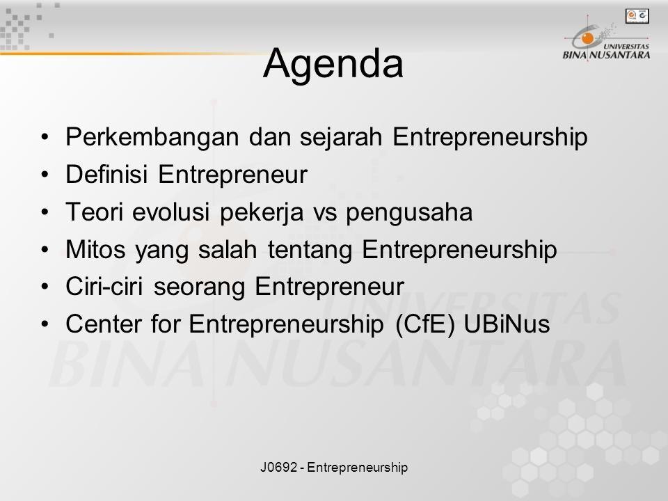 Agenda Perkembangan dan sejarah Entrepreneurship Definisi Entrepreneur