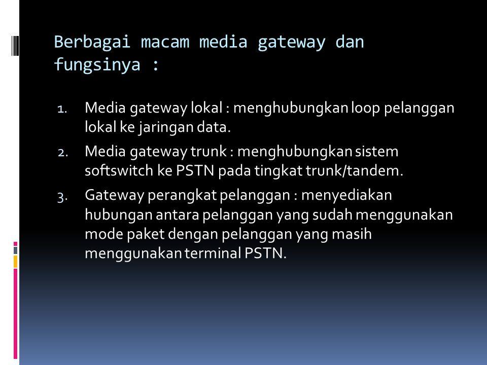 Berbagai macam media gateway dan fungsinya :