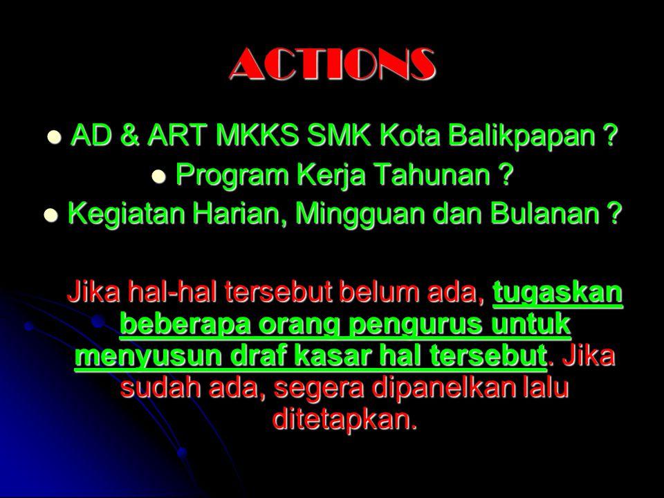ACTIONS AD & ART MKKS SMK Kota Balikpapan Program Kerja Tahunan