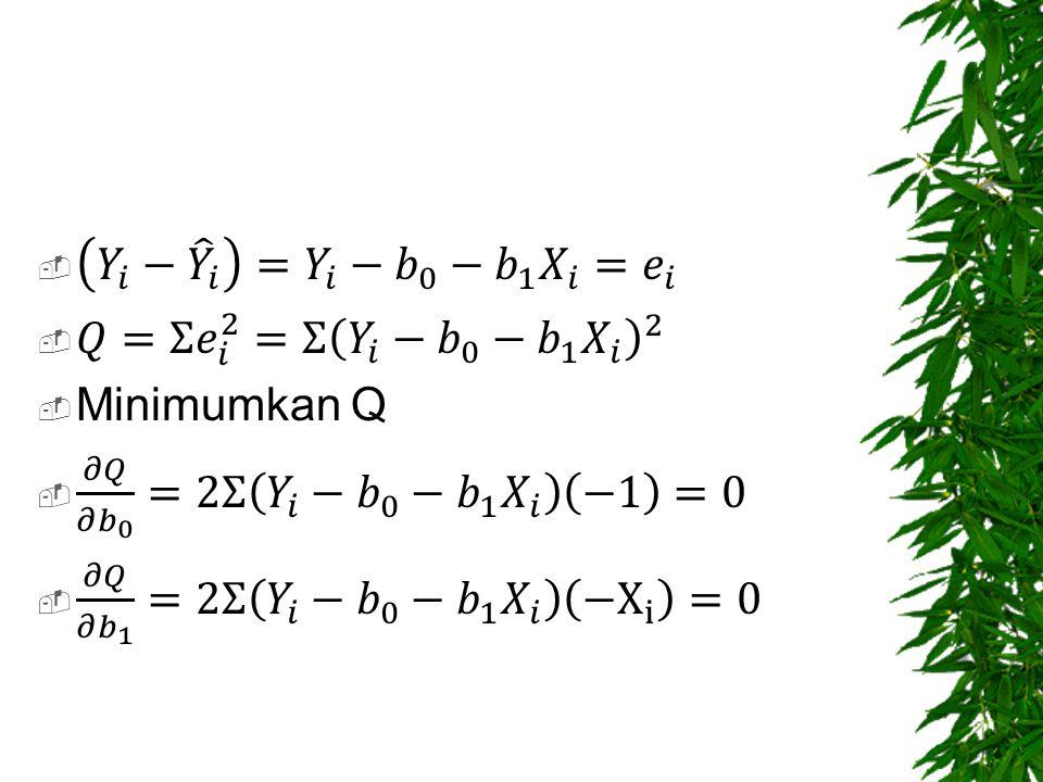 𝑌 𝑖 − 𝑌 𝑖 = 𝑌 𝑖 − 𝑏 0 − 𝑏 1 𝑋 𝑖 = 𝑒 𝑖 𝑄=Σ 𝑒 𝑖 2 =Σ 𝑌 𝑖 − 𝑏 0 − 𝑏 1 𝑋 𝑖 2. Minimumkan Q. 𝜕𝑄 𝜕 𝑏 0 =2Σ 𝑌 𝑖 − 𝑏 0 − 𝑏 1 𝑋 𝑖 −1 =0.