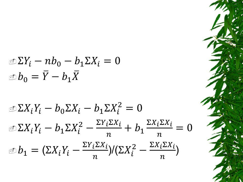 Σ 𝑌 𝑖 −𝑛 𝑏 0 − 𝑏 1 Σ 𝑋 𝑖 =0 𝑏 0 = 𝑌 − 𝑏 1 𝑋. Σ 𝑋 𝑖 𝑌 𝑖 − 𝑏 0 Σ 𝑋 𝑖 − 𝑏 1 Σ 𝑋 𝑖 2 =0.
