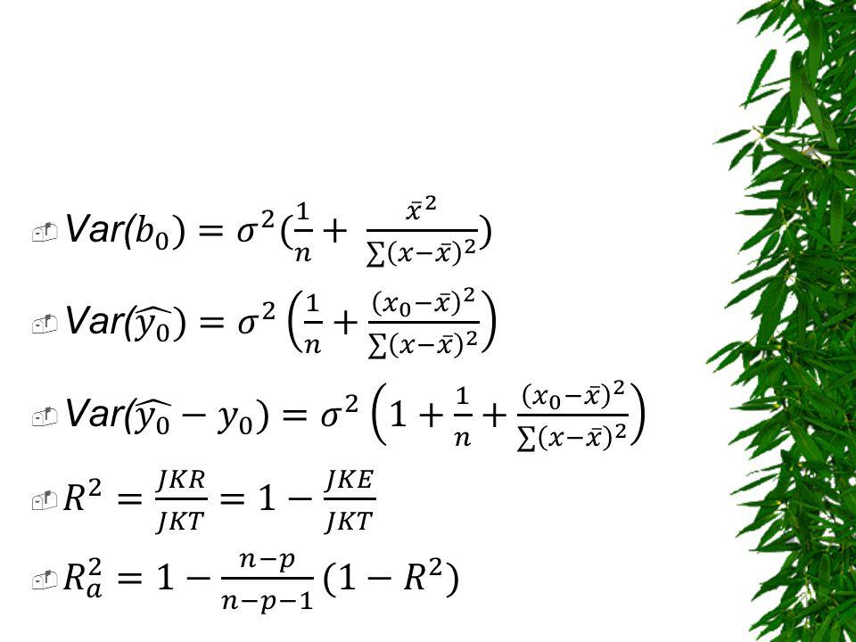 Var( 𝑏 0 )= 𝜎 2 ( 1 𝑛 + 𝑥 2 ∑ 𝑥− 𝑥 2 ) Var( 𝑦 0 )= 𝜎 2 1 𝑛 + 𝑥 0 − 𝑥 2 ∑ 𝑥− 𝑥 2.