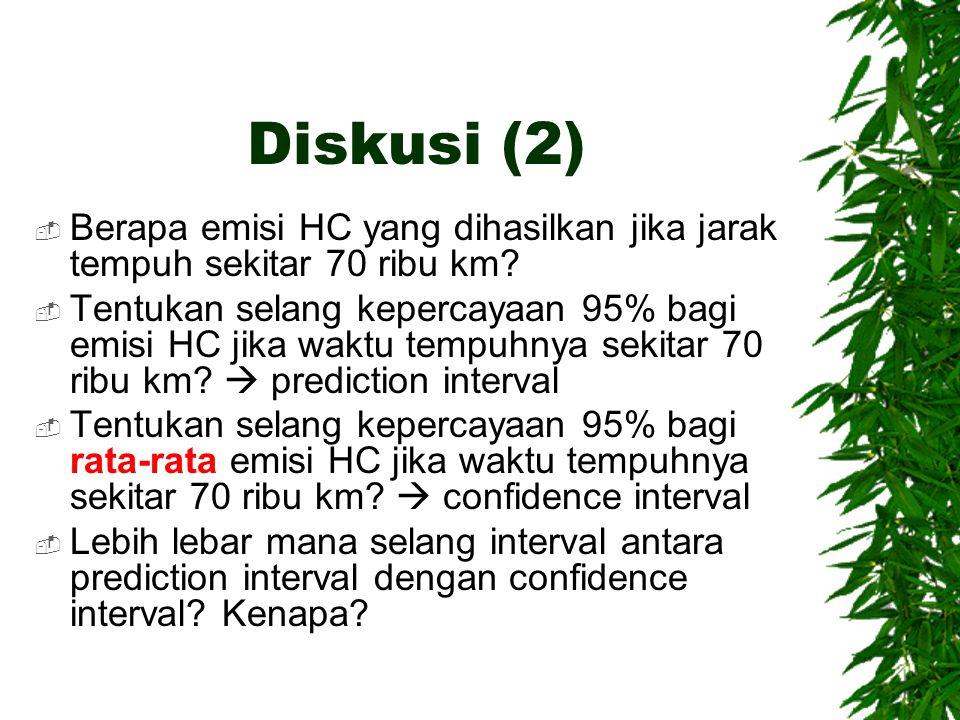 Diskusi (2) Berapa emisi HC yang dihasilkan jika jarak tempuh sekitar 70 ribu km