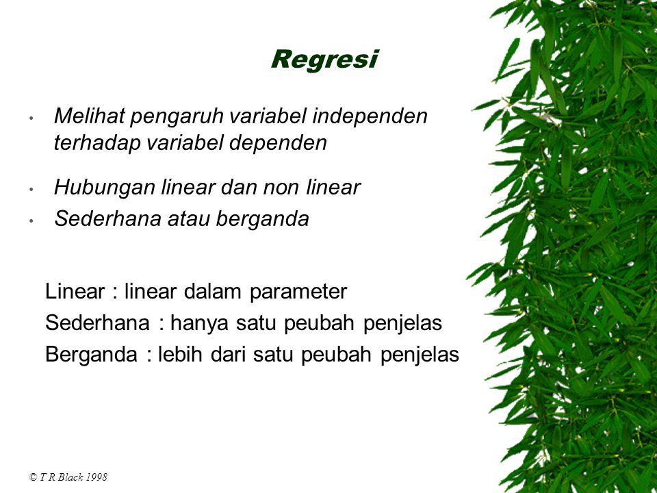 Regresi Melihat pengaruh variabel independen terhadap variabel dependen. Hubungan linear dan non linear.
