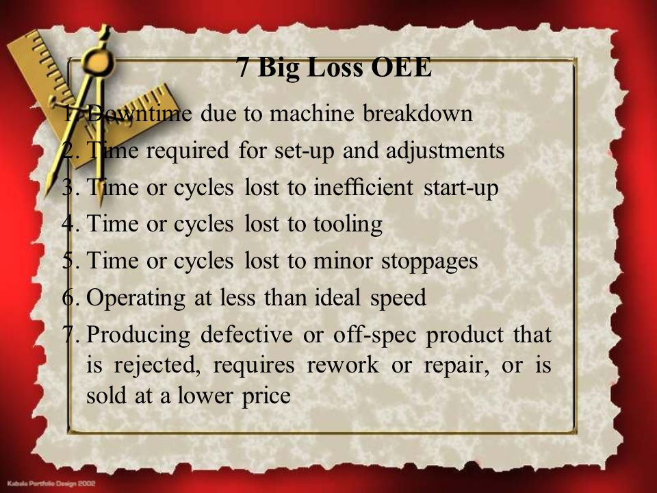 7 Big Loss OEE Downtime due to machine breakdown