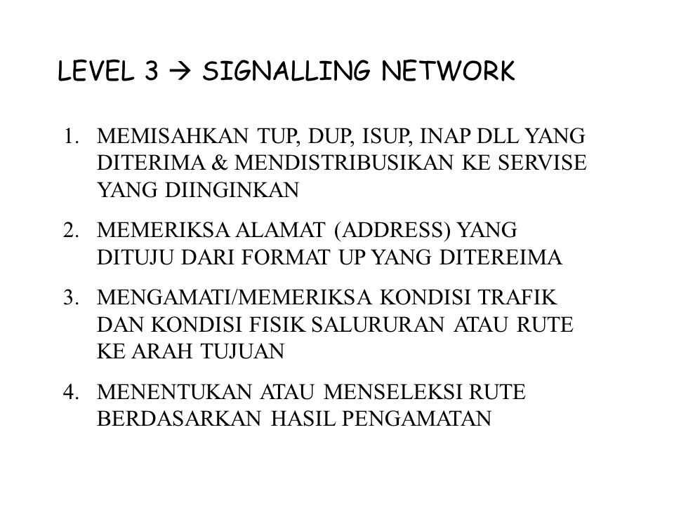 LEVEL 3  SIGNALLING NETWORK