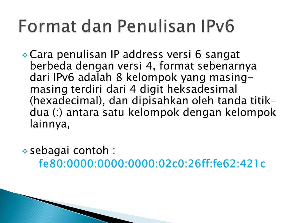 Format dan Penulisan IPv6