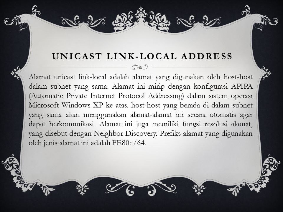Unicast link-local address