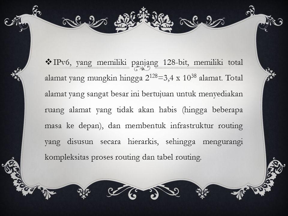 IPv6, yang memiliki panjang 128-bit, memiliki total alamat yang mungkin hingga 2128=3,4 x 1038 alamat.