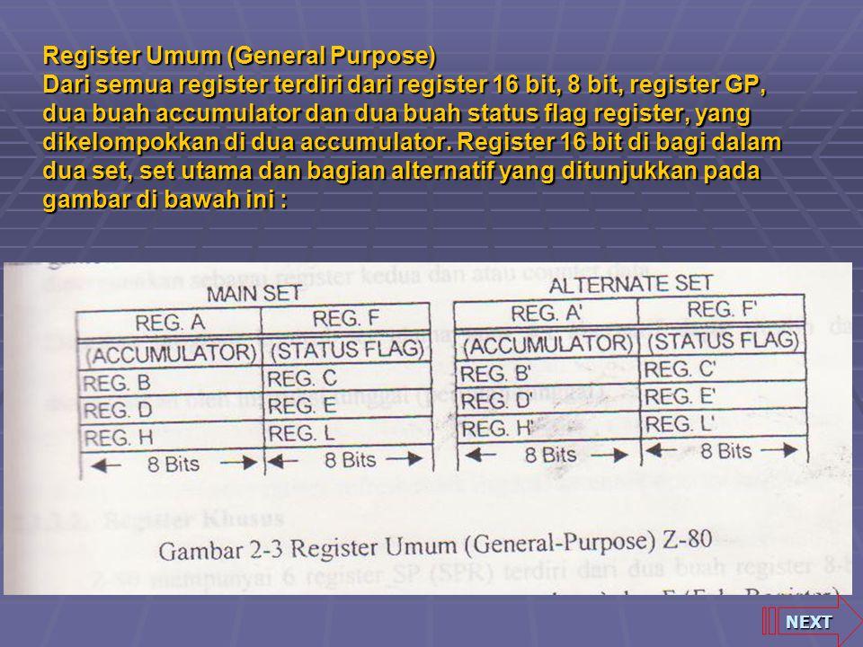 Register Umum (General Purpose) Dari semua register terdiri dari register 16 bit, 8 bit, register GP, dua buah accumulator dan dua buah status flag register, yang dikelompokkan di dua accumulator. Register 16 bit di bagi dalam dua set, set utama dan bagian alternatif yang ditunjukkan pada gambar di bawah ini :