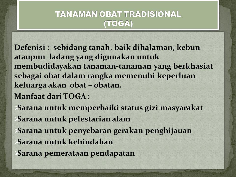 TANAMAN OBAT TRADISIONAL (TOGA)
