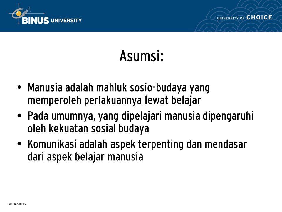 Asumsi: Manusia adalah mahluk sosio-budaya yang memperoleh perlakuannya lewat belajar.