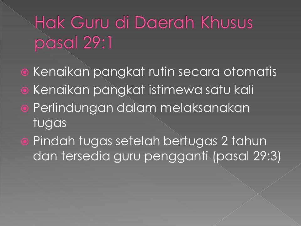 Hak Guru di Daerah Khusus pasal 29:1