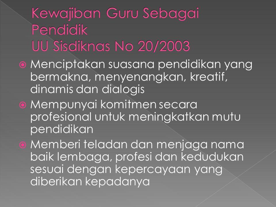 Kewajiban Guru Sebagai Pendidik UU Sisdiknas No 20/2003