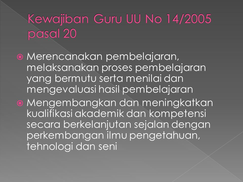 Kewajiban Guru UU No 14/2005 pasal 20