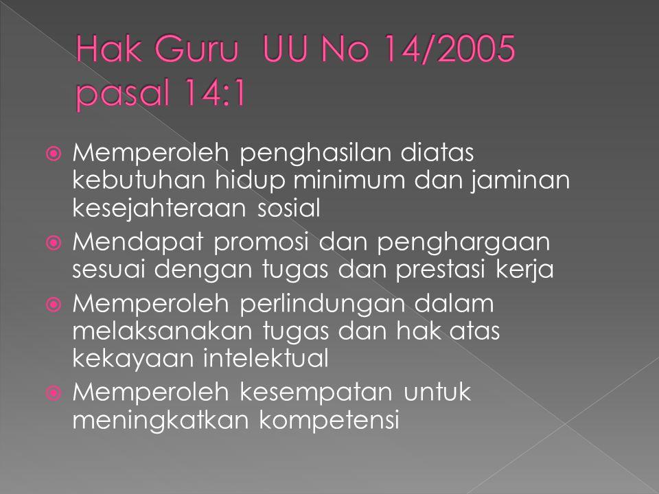 Hak Guru UU No 14/2005 pasal 14:1 Memperoleh penghasilan diatas kebutuhan hidup minimum dan jaminan kesejahteraan sosial.