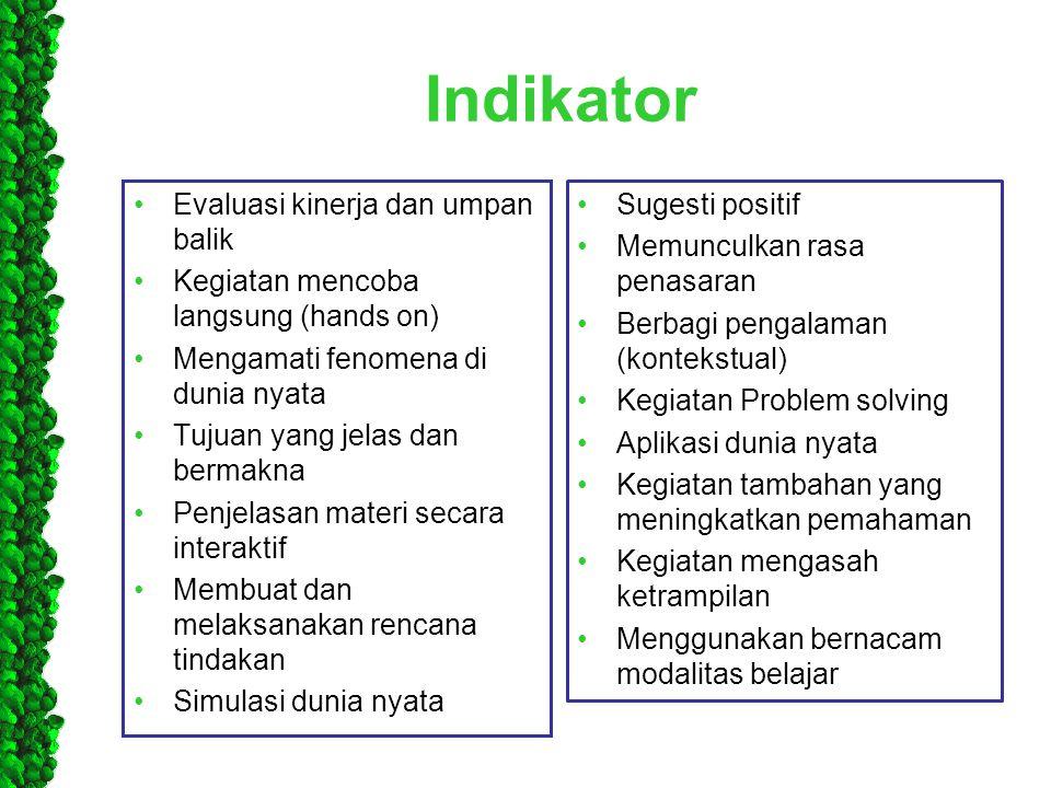 Indikator Evaluasi kinerja dan umpan balik
