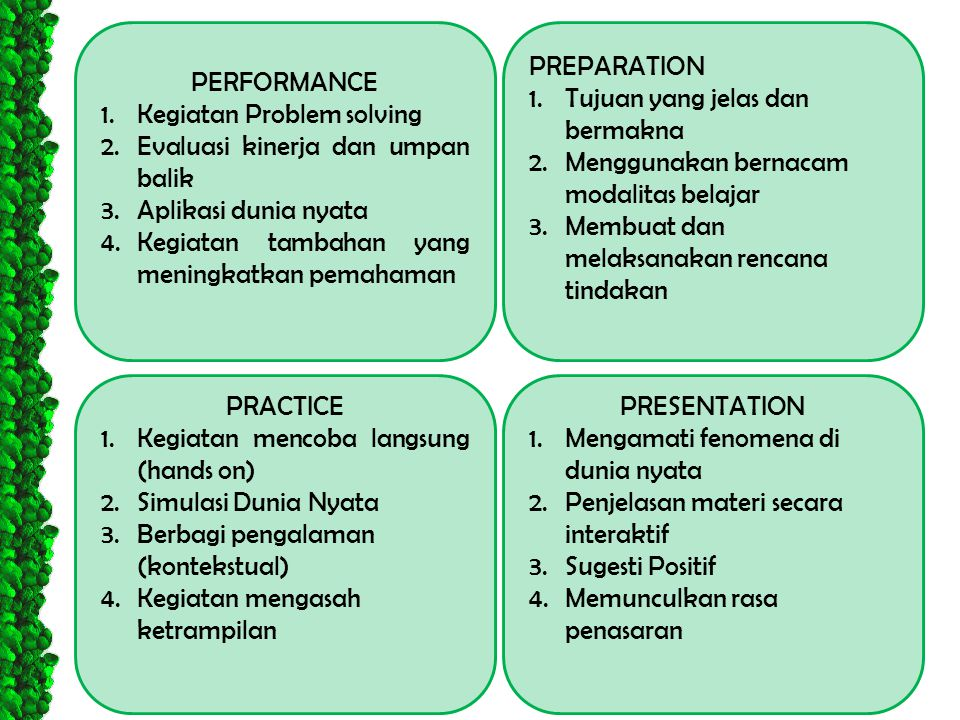 PERFORMANCE Kegiatan Problem solving. Evaluasi kinerja dan umpan balik. Aplikasi dunia nyata. Kegiatan tambahan yang meningkatkan pemahaman.