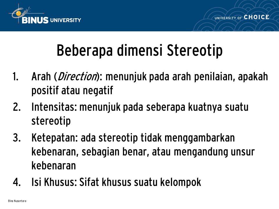 Beberapa dimensi Stereotip