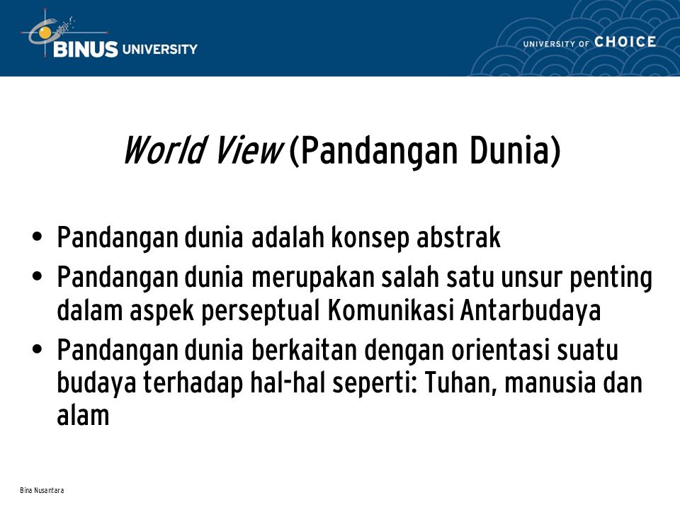 World View (Pandangan Dunia)