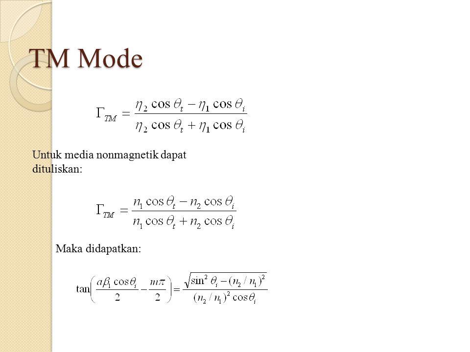 TM Mode Untuk media nonmagnetik dapat dituliskan: Maka didapatkan: