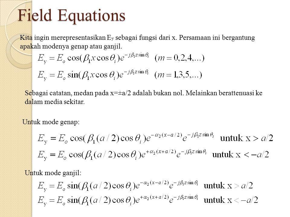 Field Equations Kita ingin merepresentasikan Ey sebagai fungsi dari x. Persamaan ini bergantung apakah modenya genap atau ganjil.