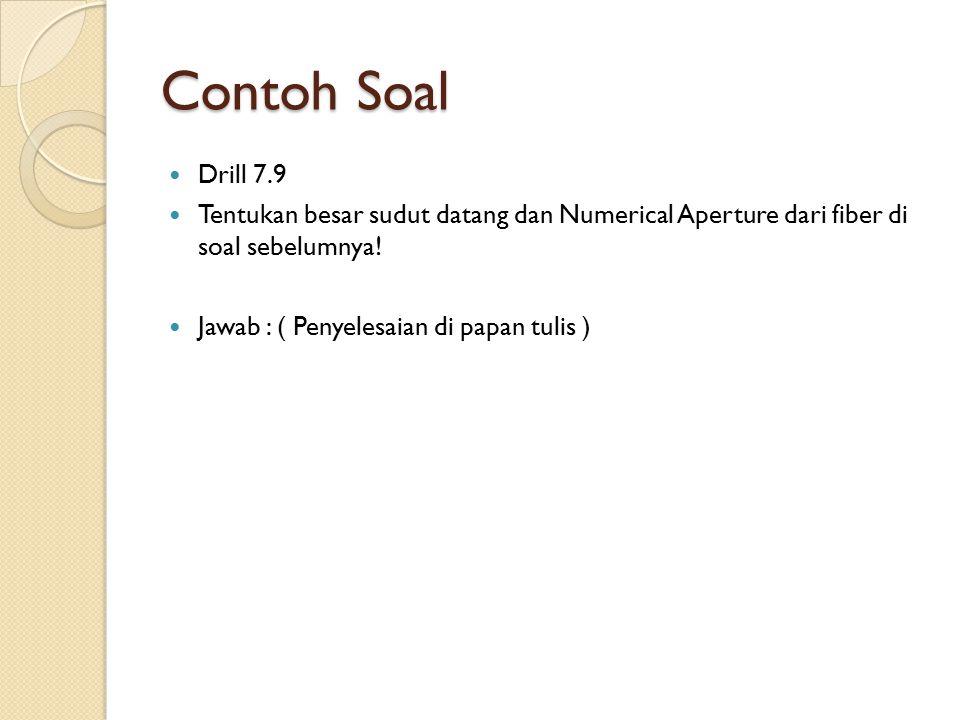 Contoh Soal Drill 7.9. Tentukan besar sudut datang dan Numerical Aperture dari fiber di soal sebelumnya!