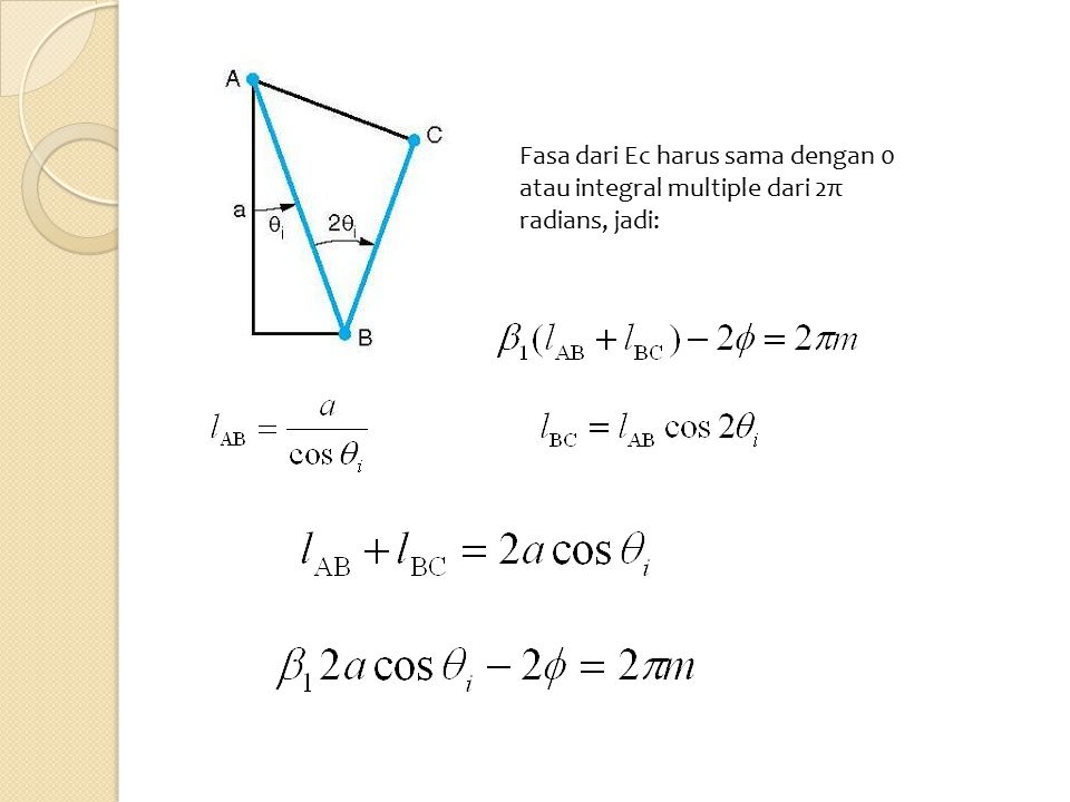 Fasa dari Ec harus sama dengan 0 atau integral multiple dari 2π radians, jadi:
