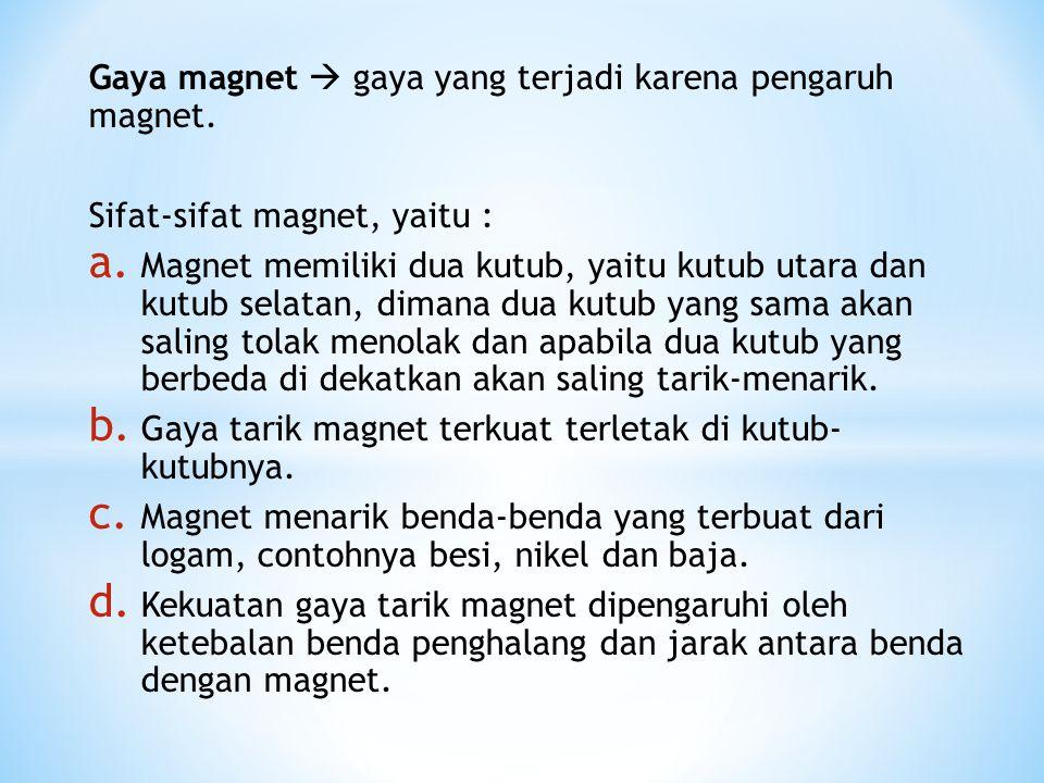 Gaya magnet  gaya yang terjadi karena pengaruh magnet.