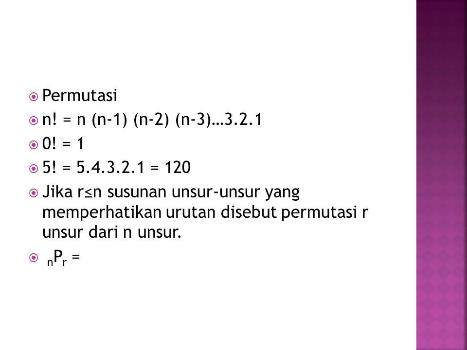 Permutasi n! = n (n-1) (n-2) (n-3)…3.2.1. 0! = 1. 5! = 5.4.3.2.1 = 120.