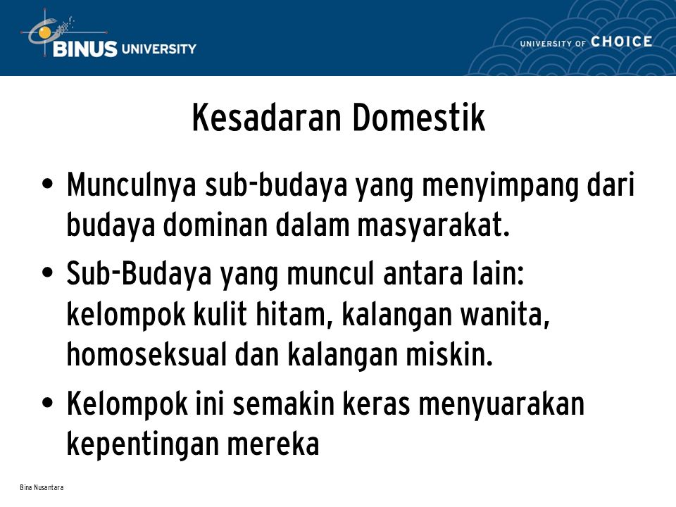Kesadaran Domestik Munculnya sub-budaya yang menyimpang dari budaya dominan dalam masyarakat.