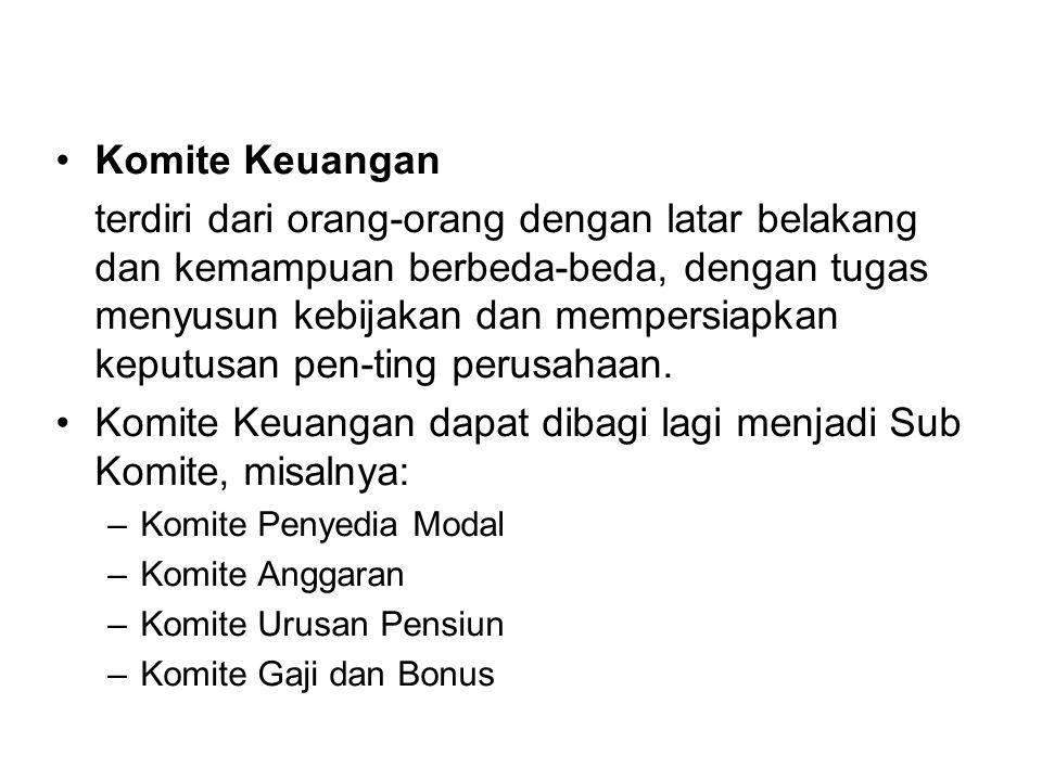 Komite Keuangan dapat dibagi lagi menjadi Sub Komite, misalnya: