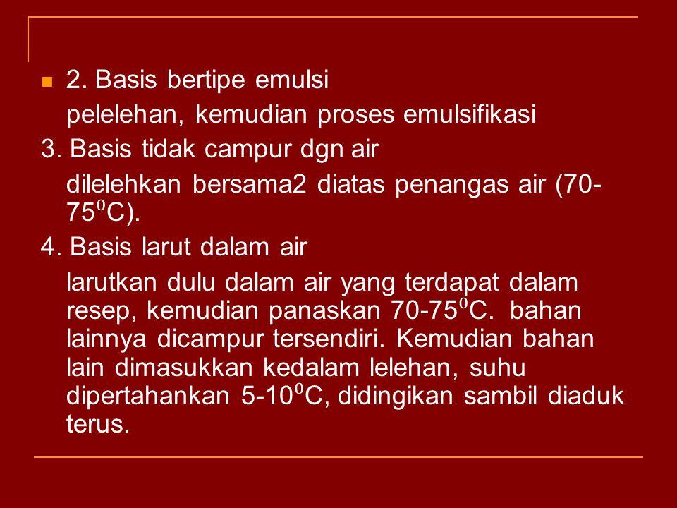 2. Basis bertipe emulsi pelelehan, kemudian proses emulsifikasi. 3. Basis tidak campur dgn air. dilelehkan bersama2 diatas penangas air (70-75⁰C).