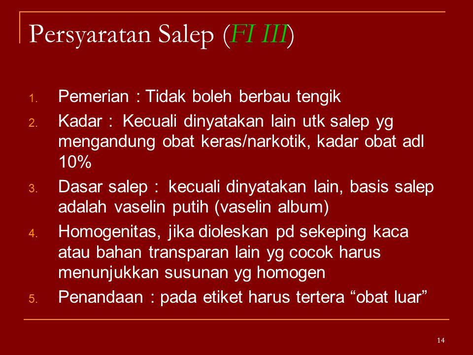 Persyaratan Salep (FI III)