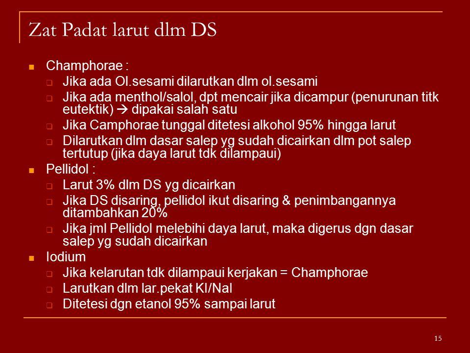 Zat Padat larut dlm DS Champhorae :