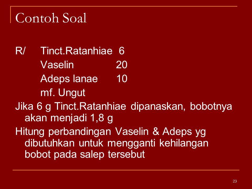 Contoh Soal R/ Tinct.Ratanhiae 6 Vaselin 20 Adeps lanae 10 mf. Ungut