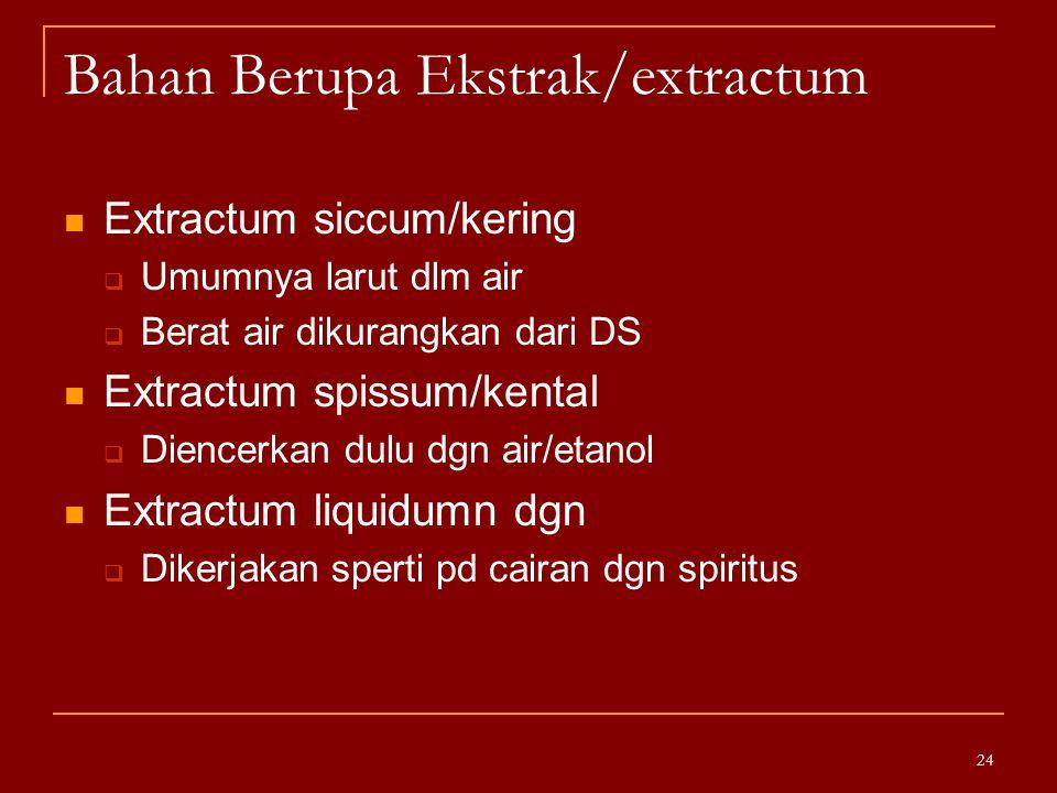 Bahan Berupa Ekstrak/extractum