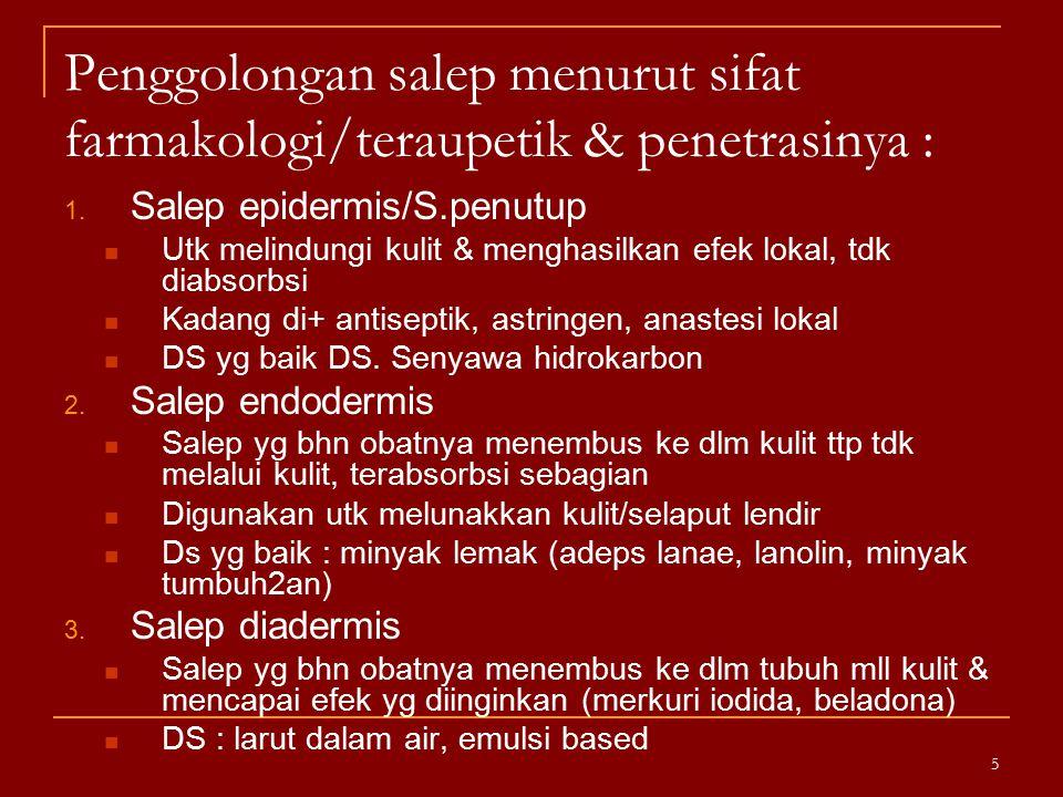 Penggolongan salep menurut sifat farmakologi/teraupetik & penetrasinya :